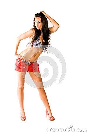 Sexy brunette woman fashion model in swimsuit