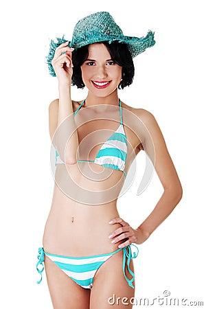 Sexy brunette woman posing in bikini