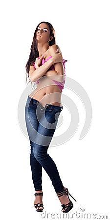 Sexy brunette woman undress rose tank top