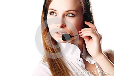Sexy business woman with headphones