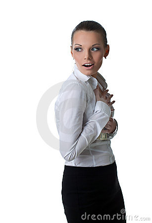 Sexy business woman hide lots of dollars