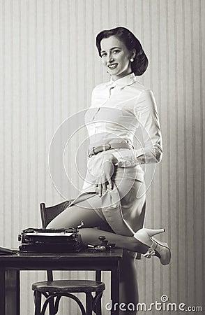 Pin Up Girl Secretary Stock Images - Image: 29856394
