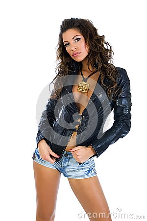 Free Sexy Busty Girl In Tight Denim Shorts Stock Photos - 43319083