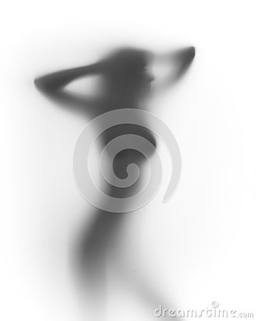 Free Sexy Busty Woman Stands Behind Curtain, Silhouette Royalty Free Stock Images - 24719949
