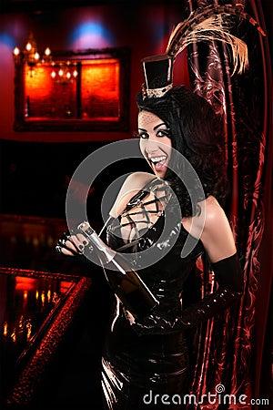 Sexy Cabaret Nightclub with Glamorous Hostess