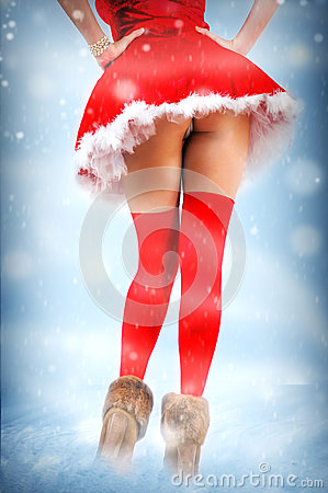 Sexy christmas card - woman with long beautiful legs in red stockings ...: http://www.dreamstime.com/royalty-free-stock-photos-sexy-christmas-card-legs-stockings-woman-long-beautiful-red-winter-background-image34955428