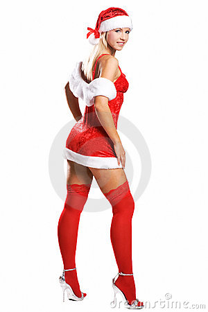 Sexy christmas girl isolated on white