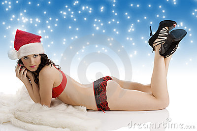 Sexy christmas girl laying