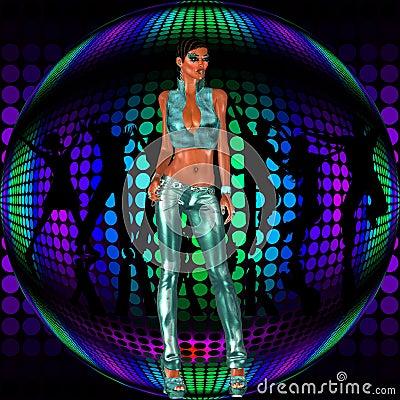Sexy club girl stands before a retro disco dance ball