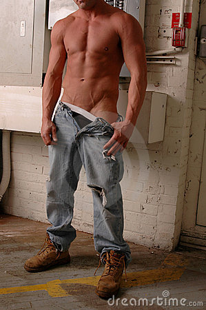 Sexy construction worker front view
