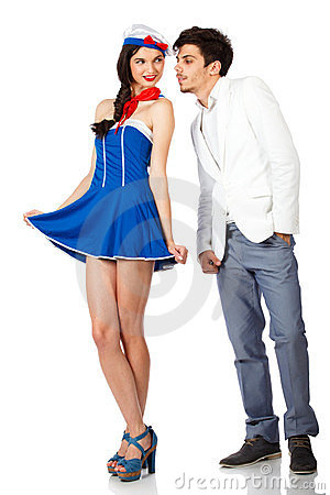 Sexy cute sailor woman and elegant man