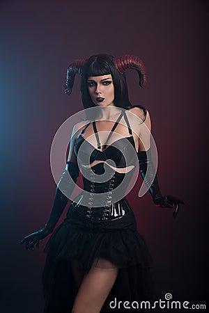 Sexy demon girl with horns stock photo image 60686107 - Hot demon women ...