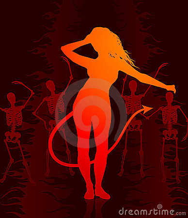Sexy devil woman on dark background with skeletons