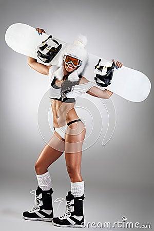 Free Sexy Dressed Snowboarder Stock Photo - 35287390