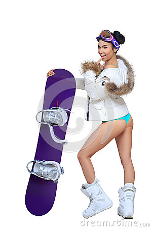 Free Sexy Dressed Woman With Snowboard Stock Image - 48221621