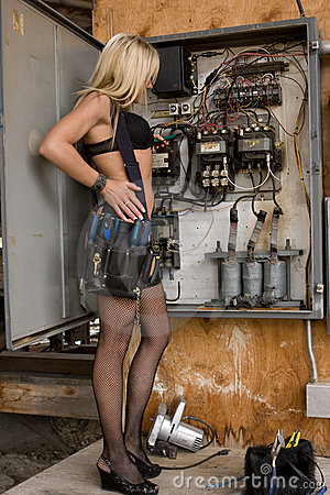 Sexy Electrician Woman Stock Images - Image: 5318304