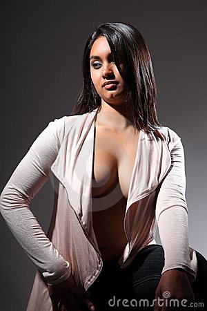Sexy fashion model in clevage revealing open top