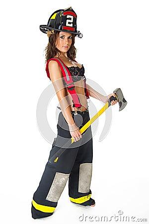 Sexy Female Firefighter Bunker Gear