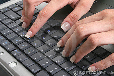 Sexy Female Hands on Keyboard