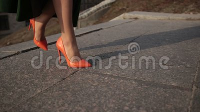 female legs in high heels climbing up stairs stock video footage