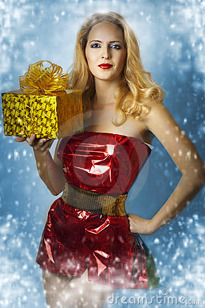 Sexy female model santa claus