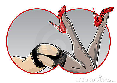 Sexy female pose showing legs and stiletto shoes