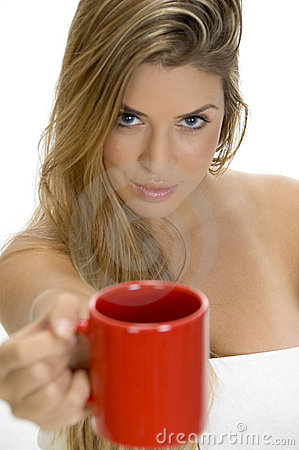 Sexy female showing coffee mug