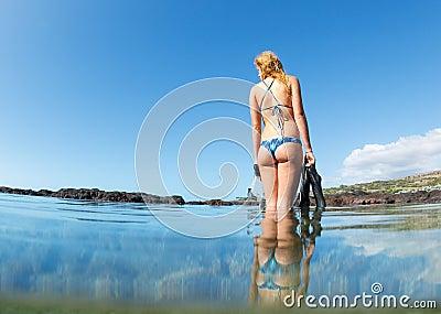 Sexy female snorkeler