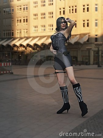 Sexy female spy in the city