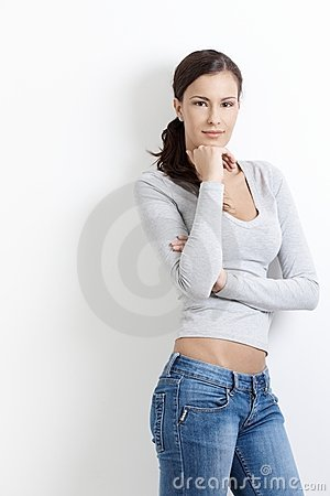 Sexy female standing arms crossed