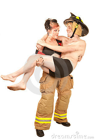 Sexy firefighter rescues a handsome man