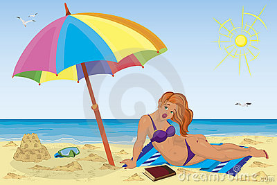 Sexy girl on the beach under colorful umbrella