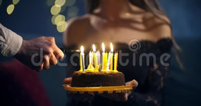 Superb Girl In A Beautiful Black Dress Holds A Cake In Her Hands And A Funny Birthday Cards Online Elaedamsfinfo
