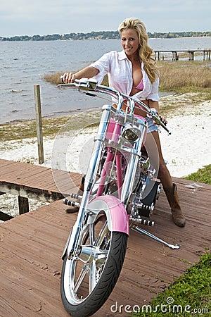 Sexy Girl In Bikini & Shorts on Chopper Motorbike