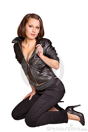 Sexy girl in a black leather jacket