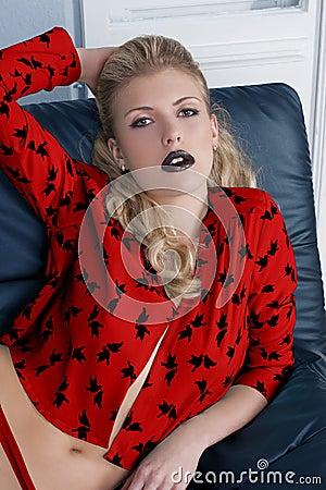 Sexy girl black lipstick