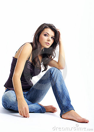 Sexy Happy Girl In Blue Jeans Stock Image - Image: 7625001