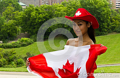 Sexy girl with a Canada flag