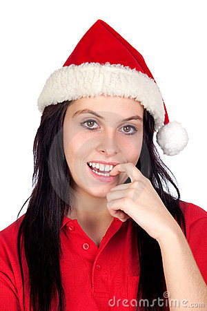 Sexy girl with Christmas hat biting her finger