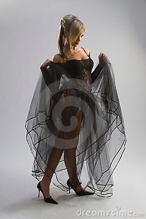 Sexy girl in diaphanous dress