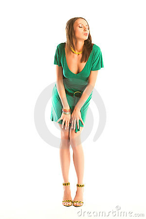 Sexy girl in green gown