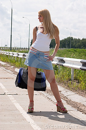 Sexy girl on highway.