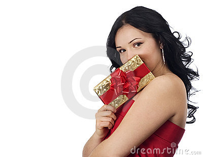 Sexy girl holding a gift