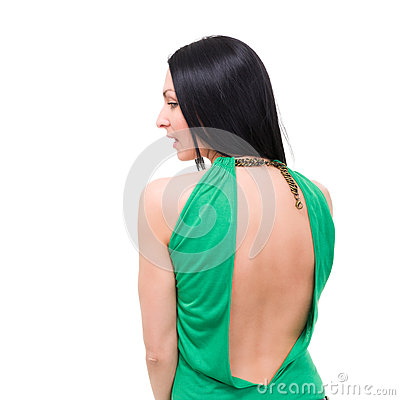 Free Sexy Girl In Dress Back View Isolated On White Stock Images - 29872124