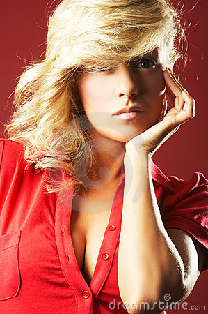 Free Sexy Girl In Red Blouse Royalty Free Stock Photos - 4881928