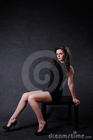 Sexy girl in little black dress