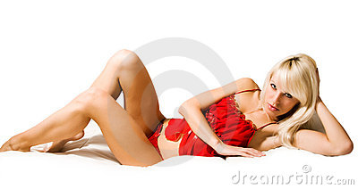 Sexy girl lying in red