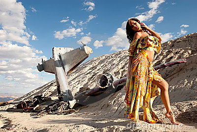 Sexy girl and plane crash in desert