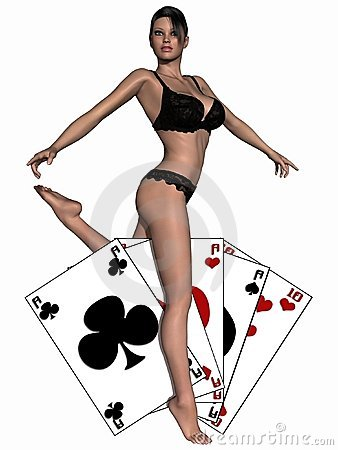 Sexy girl playing with cards