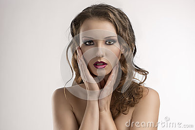 Sexy girl with purple make-up and hands
